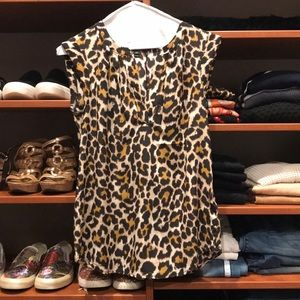 Jcrew Silk Leopard Print Top